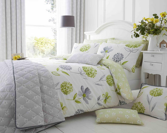 Cotton Rich Caroline Floral Design Duvet Set in Spring Green and Light Grey