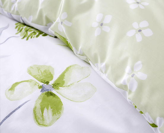 Cotton Rich Caroline Floral Design Duvet Set in Spring Green and Light Grey Thumbnail 3