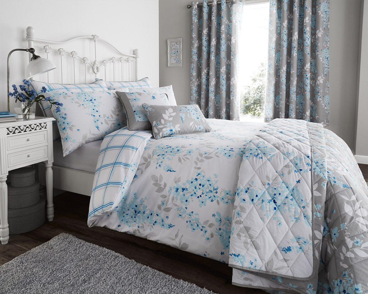 Cotton Rich Sophia Collection Design Duvet Set and Bedding Range in Duck Egg