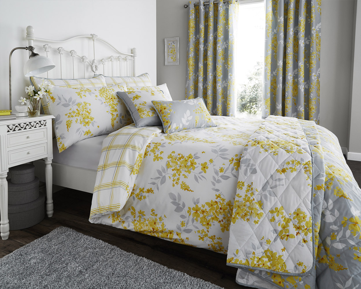 Cotton Rich Sophia Collection Design Duvet Set and Bedding Range in Lemon Yellow
