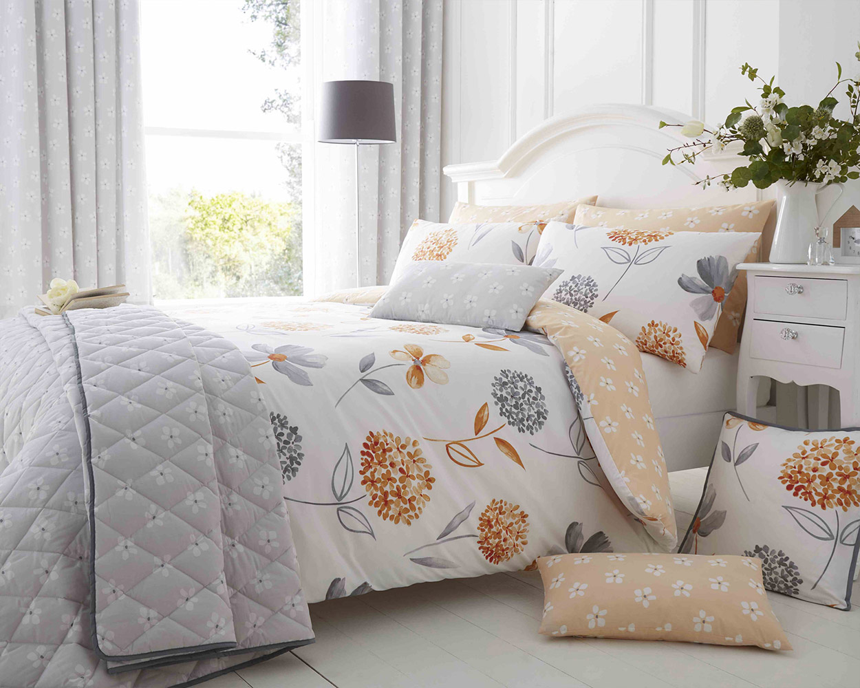 Cotton Rich Caroline Floral Design Duvet Set In Sunset Orange And Light Grey Thumbnail 1