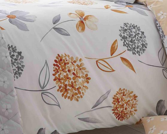 Cotton Rich Caroline Floral Design Duvet Set in Sunset Orange and Light Grey Thumbnail 2