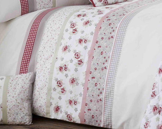 Cotton Rich Garden Flower Design Duvet Set and Bedding Range in Pink / Grey Thumbnail 2
