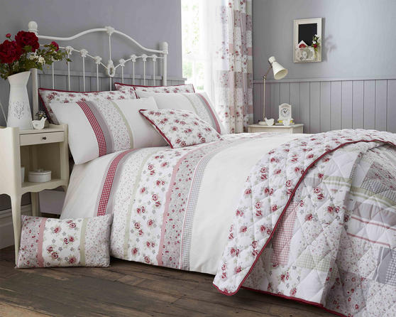 Cotton Rich Garden Flower Design Duvet Set and Bedding Range in Pink / Grey Thumbnail 1