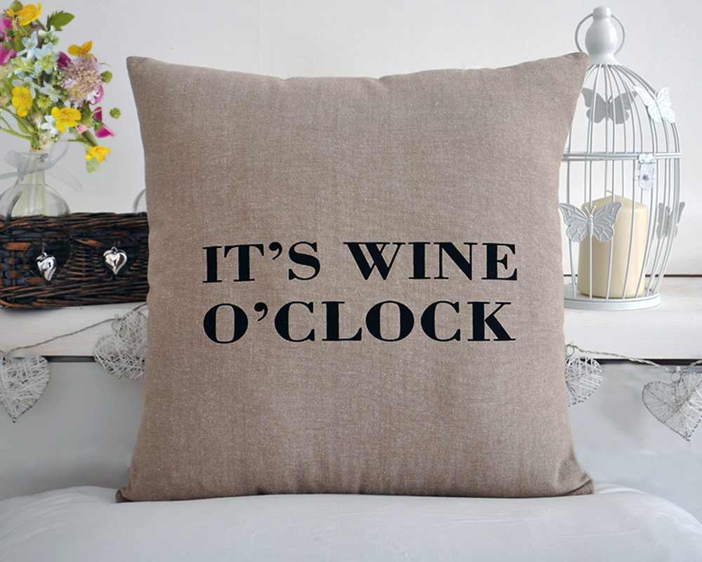 "100% Cotton ""It's Wine O'Clock"" Cushion with Inner"