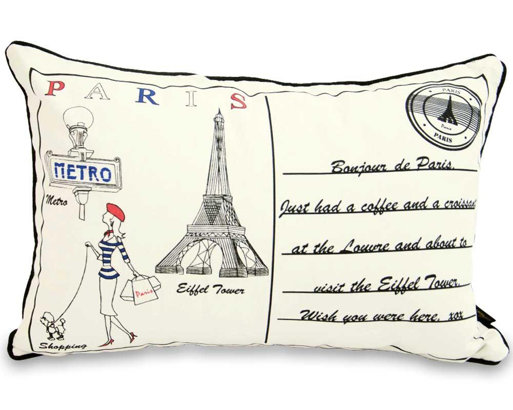 Letter To Paris 60cm x 40 cm Boudoir Cushion With Bounce Back Inner