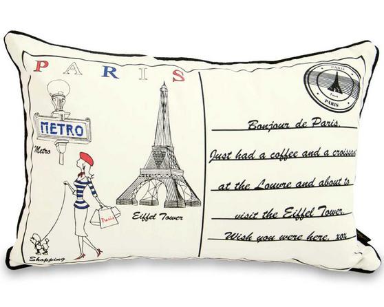 Letter To Paris 60cm x 40 cm Boudoir Cushion With Bounce Back Inner Thumbnail 1