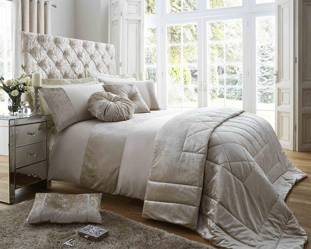 Duchess Oyster Luxury Bedding Range with Crushed Velvet Panel Finish ...