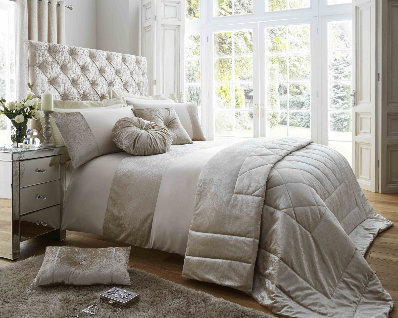 Duchess Matt Satin and Crushed Velvet Bedding Set in Oyster
