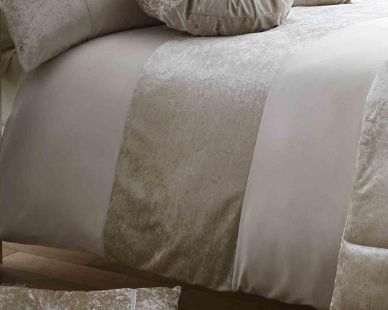 Duchess Matt Satin and Crushed Velvet Bedding Set in Oyster Thumbnail 2