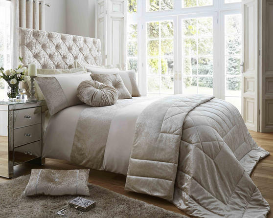 Duchess Matt Satin and Crushed Velvet Bedding Set in Oyster Thumbnail 1