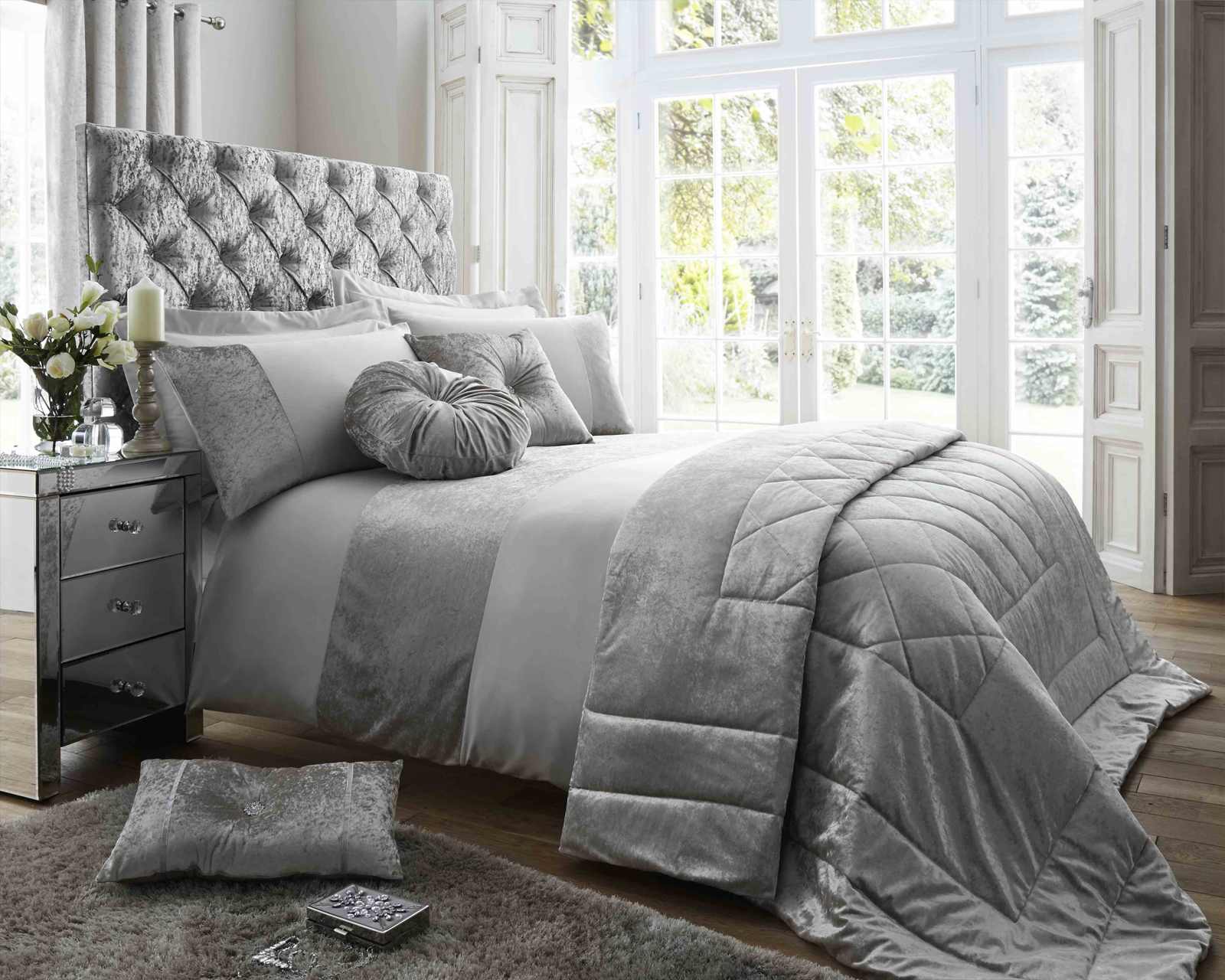 Duchess Matt Satin and Crushed Velvet Bedding Set in Silver