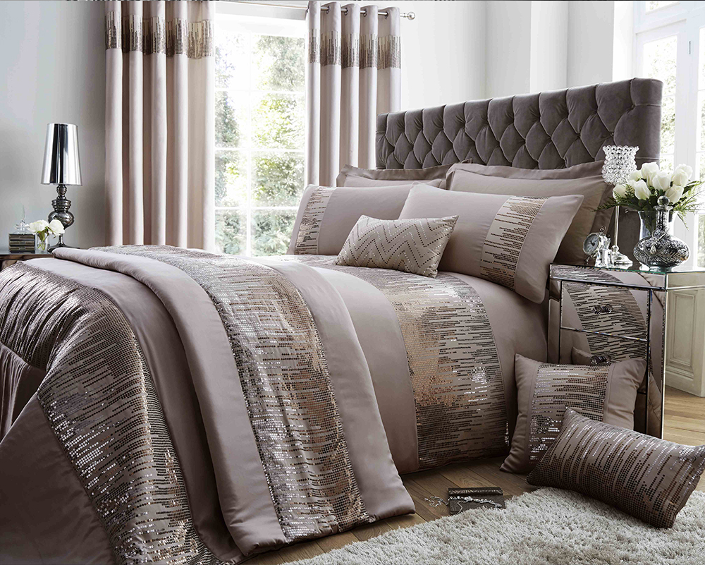 Antionette Collection Matt Satin and Sequin Bedding Set in Mink