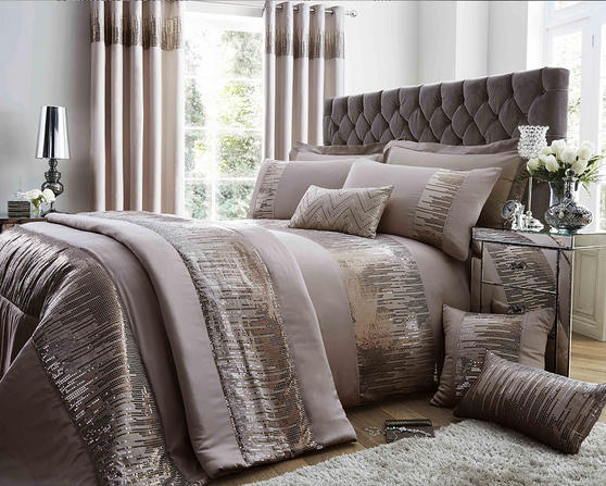 Antionette Collection Matt Satin and Sequin Bedding Set in Mink Thumbnail 1