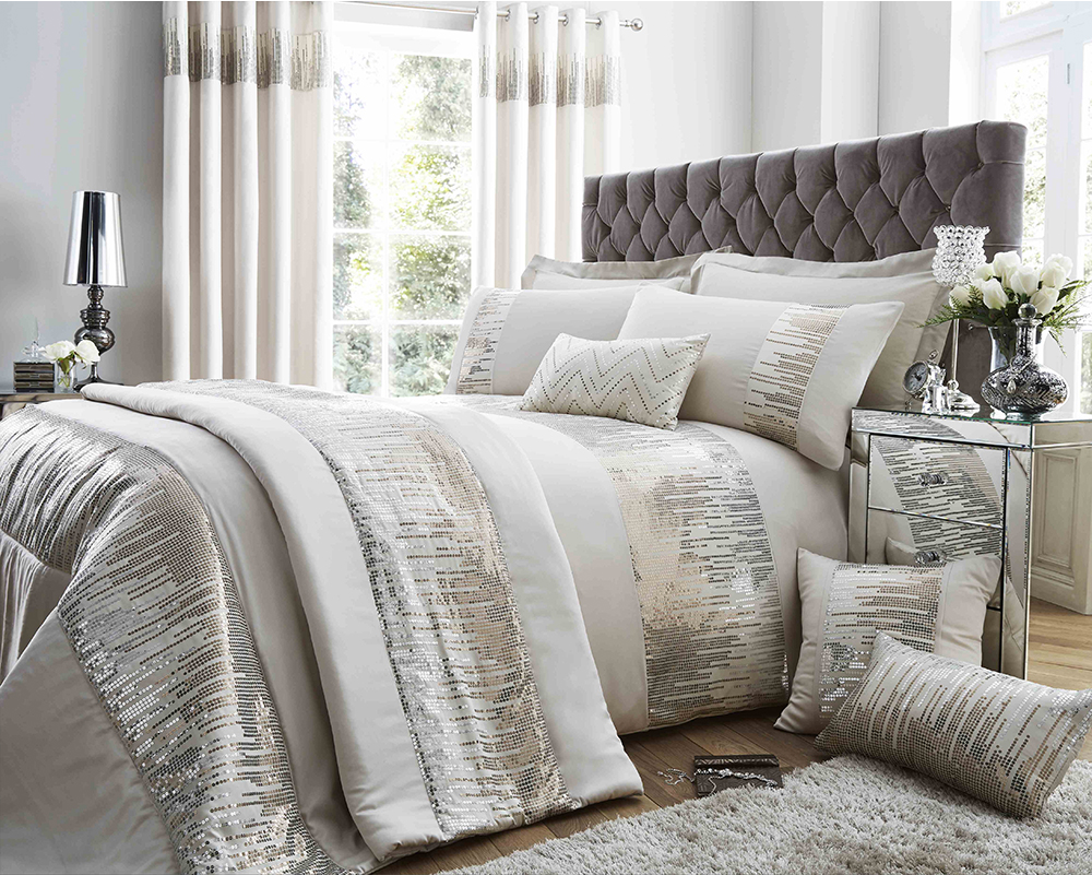 Antionette Collection Matt Satin and Sequin Bedding Set in Oyster