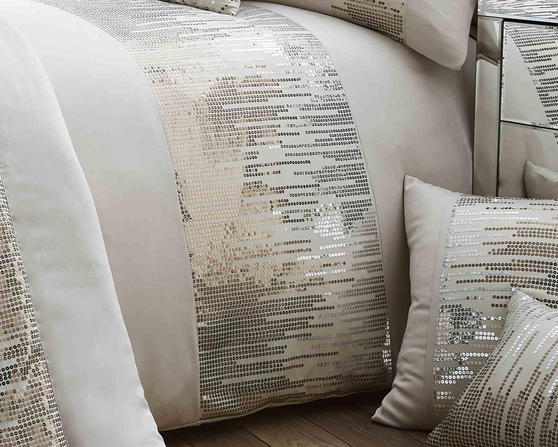 Antionette Collection Matt Satin and Sequin Bedding Set in Oyster Thumbnail 2
