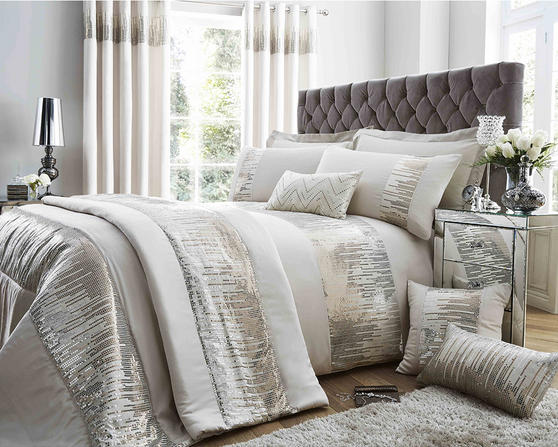 Antionette Collection Matt Satin and Sequin Bedding Set in Oyster Thumbnail 1