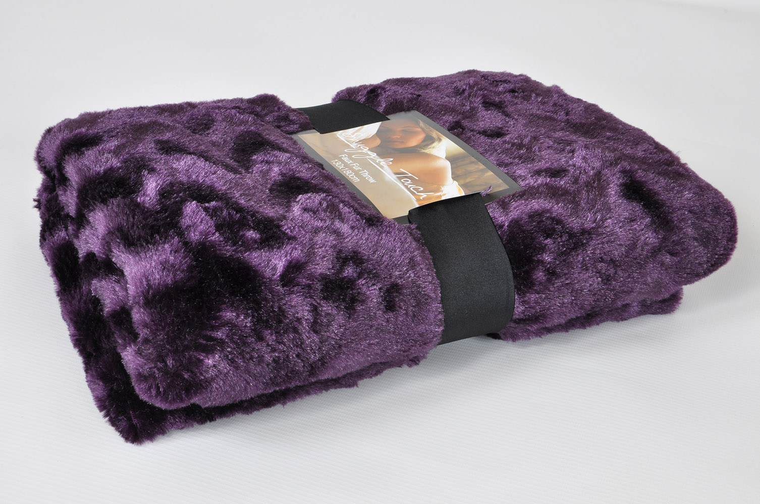 Luxury Faux Fur Throw Blanket In Purple Lancashire Textiles
