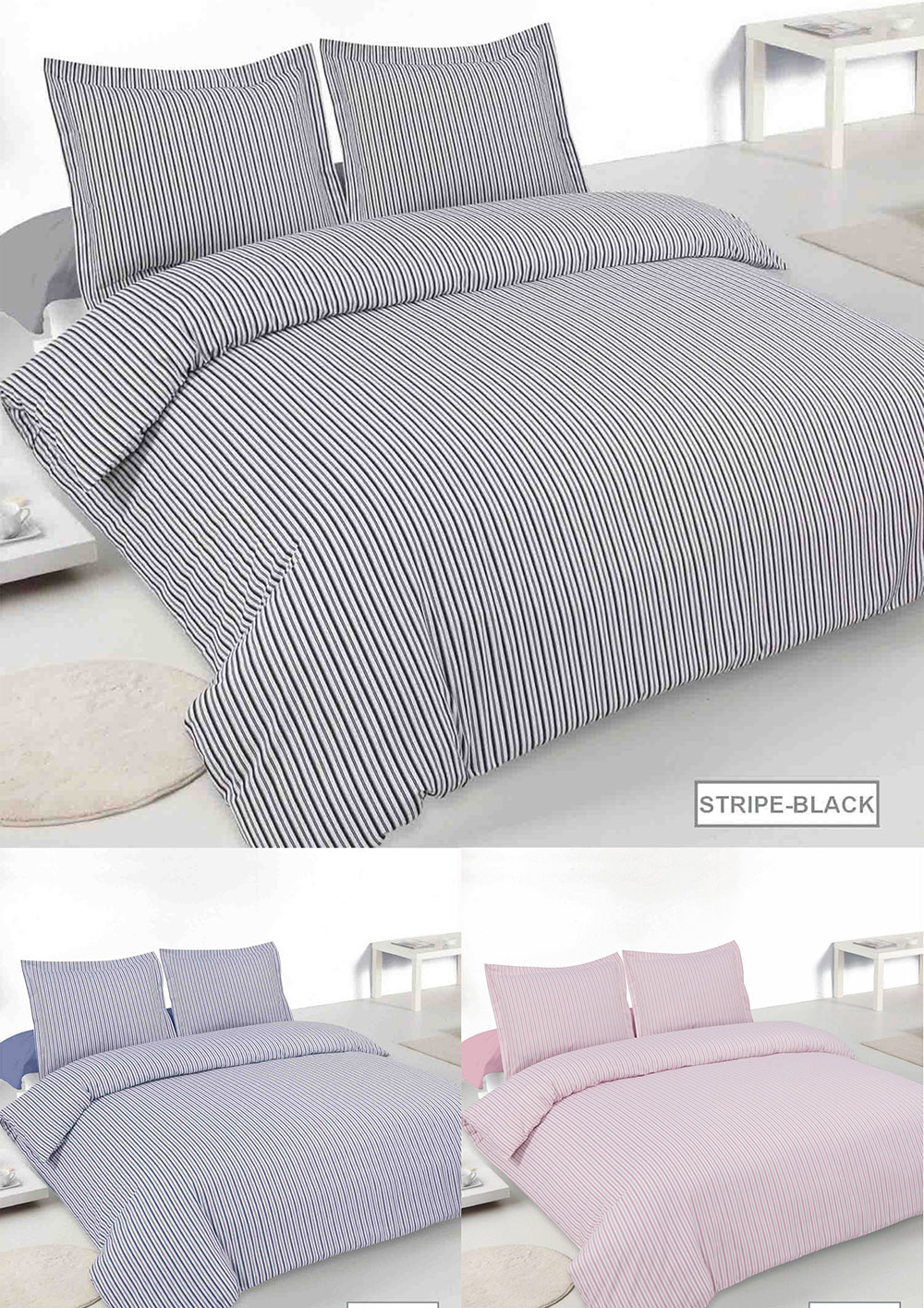 Oxford Stripe Brushed Cotton Duvet Sets in Various Colours