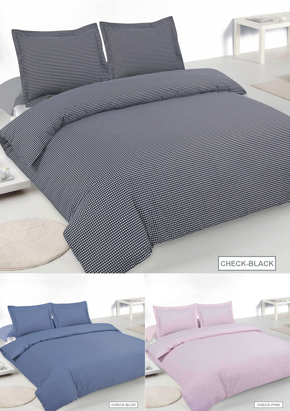 Gingham Check Blended Cotton Duvet Sets in Various Colours