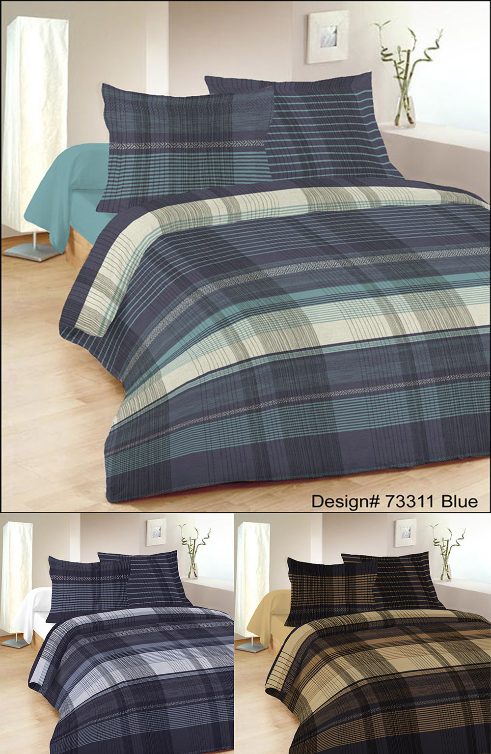 Malvern Check Blended Cotton Duvet Sets in Various Colours