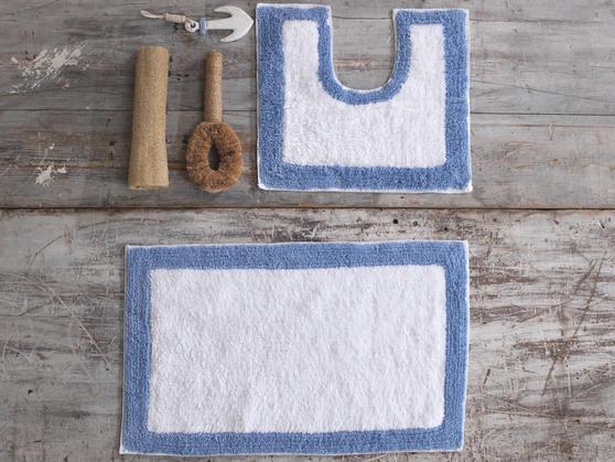 2 Piece 100% Cotton Bath Mat Set in Various Colours Thumbnail 1