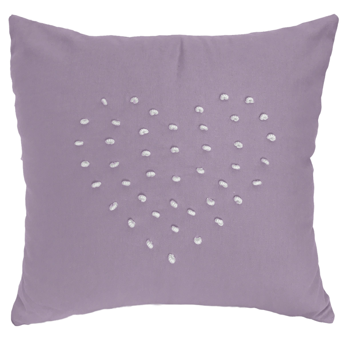 Purple Mauve French Knot Love Heart Cushion Cover