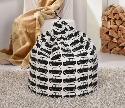 Black Taxi Print Large Bean Bag