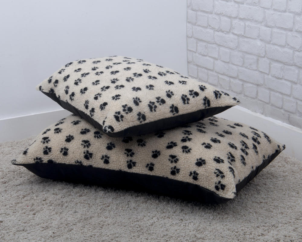 Faux Wool Paw Print Pet Cushion
