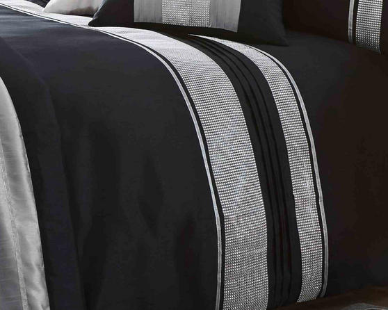 Dallas Collection Diamante Bedding Set in Black Thumbnail 2