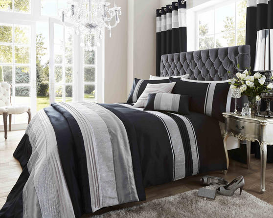 Dallas Collection Diamante Bedding Set in Black Thumbnail 1