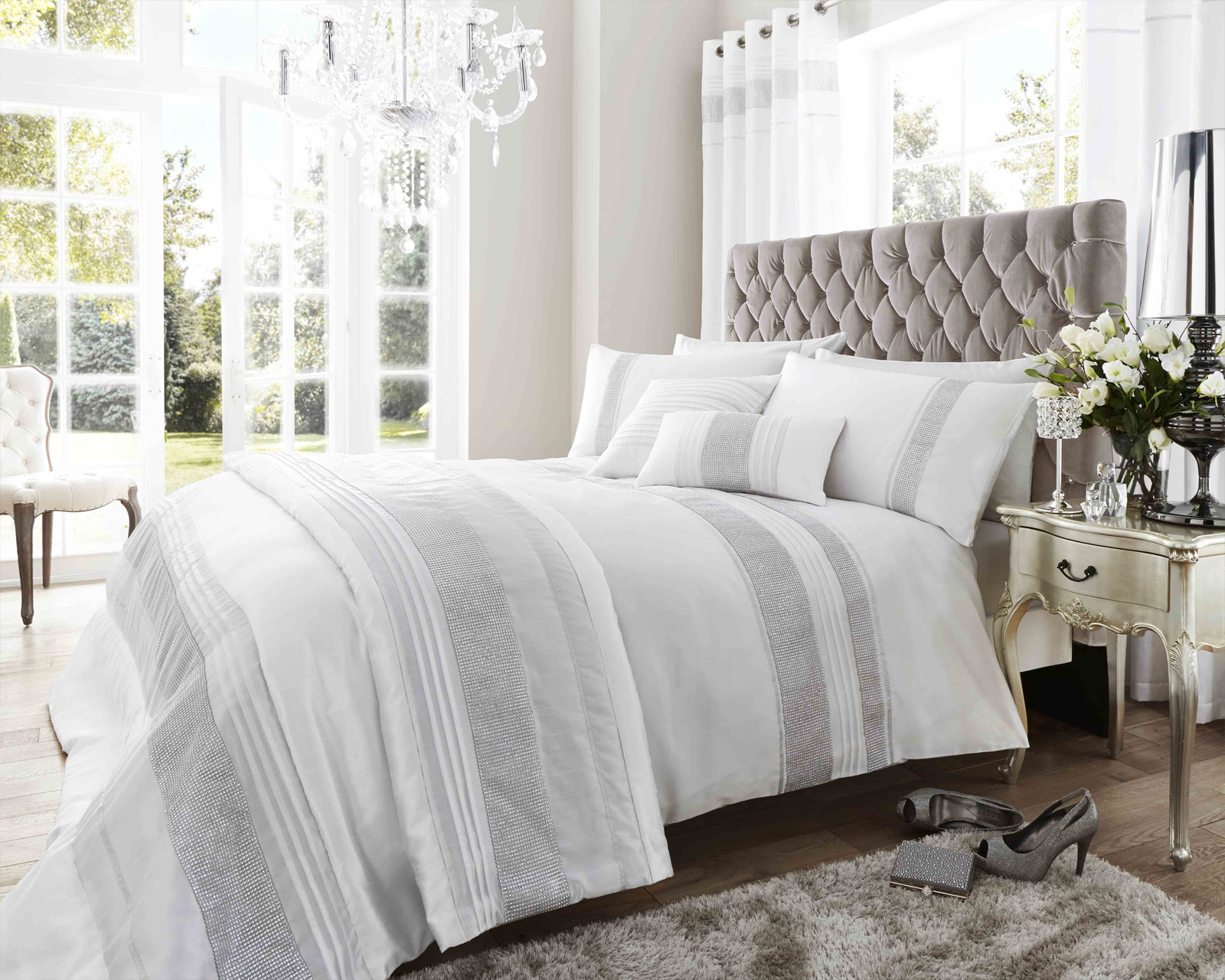 Dallas Collection Diamante Bedding Set in White