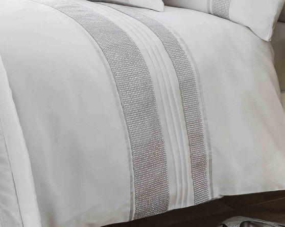 Dallas Collection Diamante Bedding Set in White Thumbnail 2