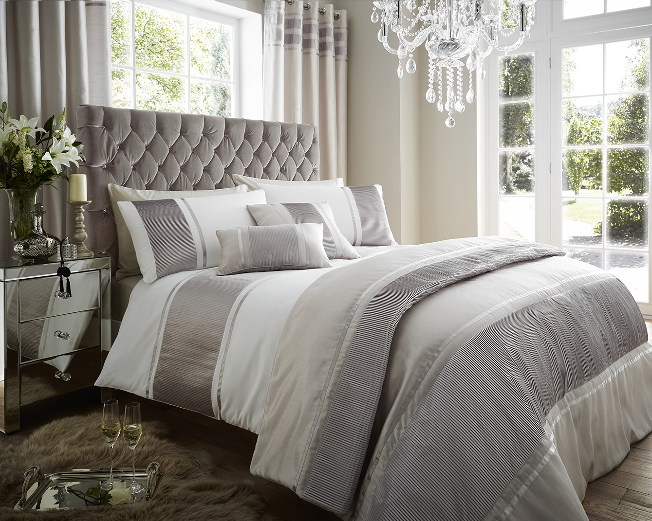 Detroit Collection Satin Pleated Bedding Set in White / Silver