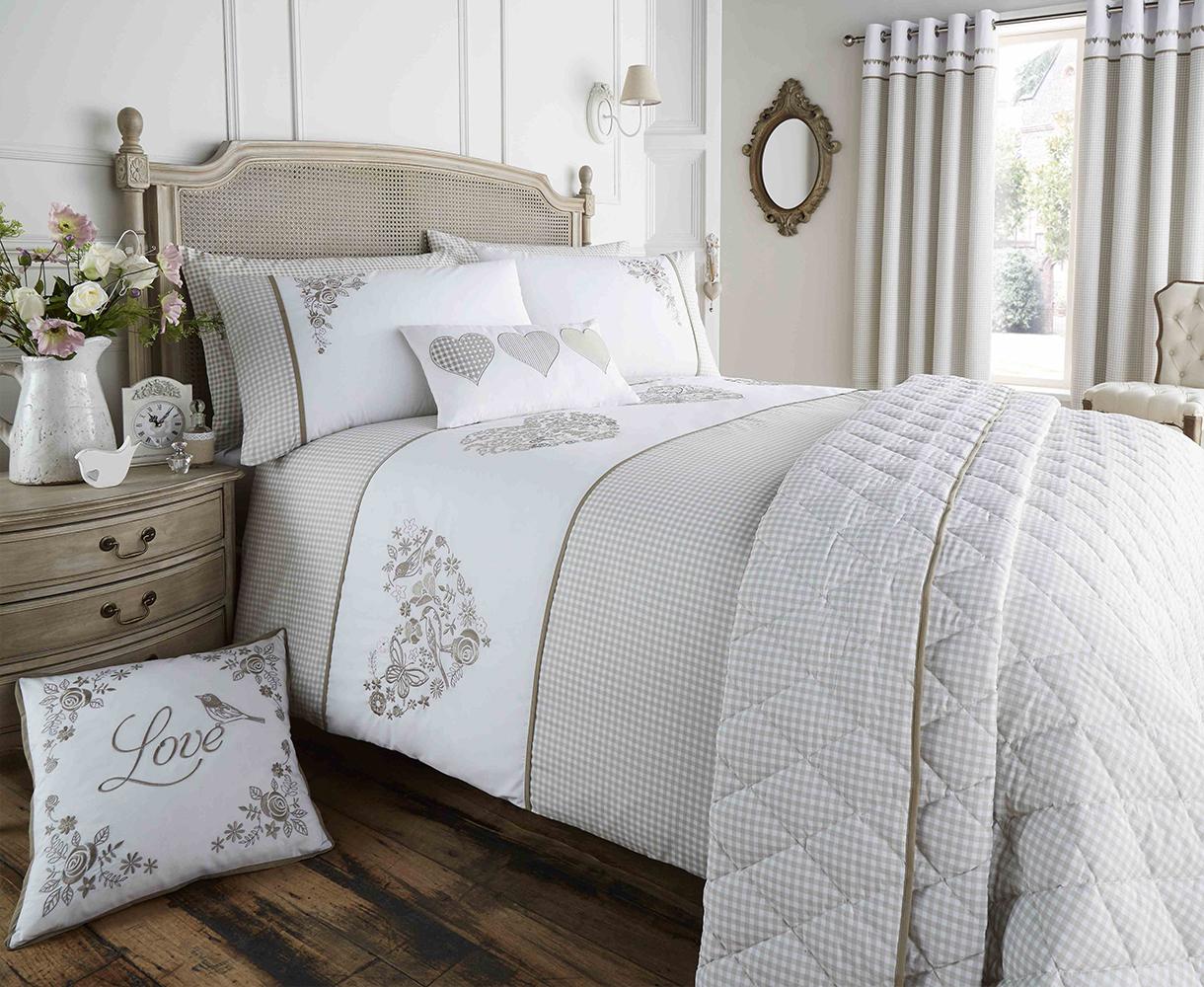 Valentina Collection Gingham Design Bedding Set in Khaki