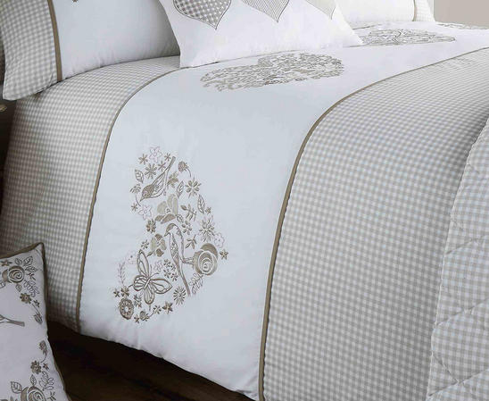Valentina Collection Gingham Design Bedding Set in Khaki Thumbnail 2