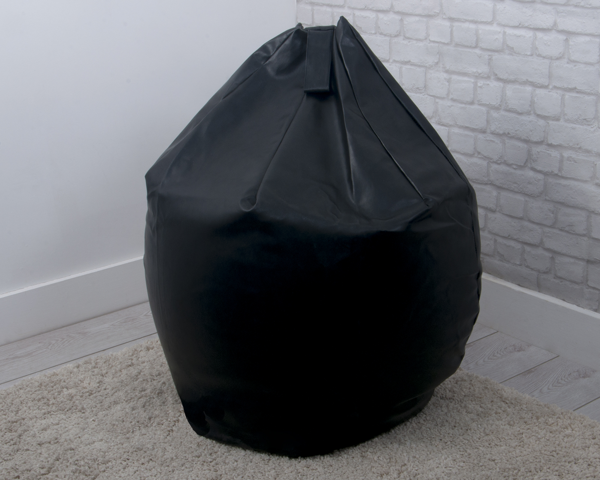 Large Faux Leather Bean Bag In Black