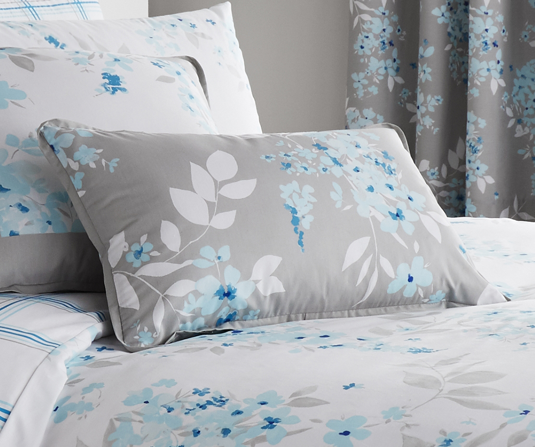 Sophia Floral Duck Egg Blue Print Luxury Duvet Sets