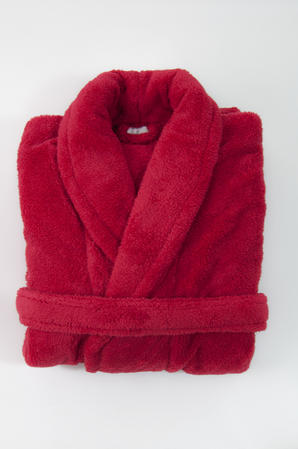 Red Super Soft Unisex Plush Bathrobe Thumbnail 1