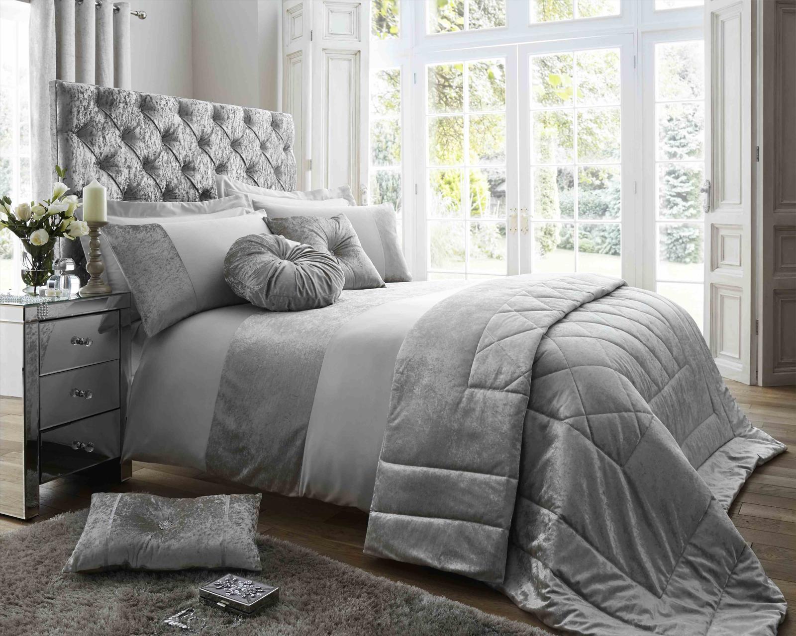 Duchess Silver Luxury Bedding Range With Crushed Velvet