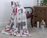Plush Fleece Festive 'Home Sweet Home' Throw 130cm x 180cm