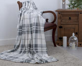 Plush Fleece Festive Grey Tartan Check Throw 130cm x 180cm