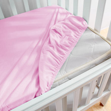 Baby Brushed 100% Cotton Flannelette Pram Fitted Sheet in Pink (30 x 73 x 5 cm)