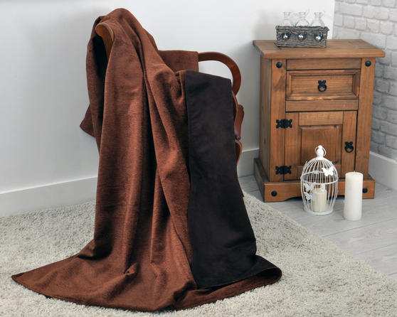 Chenille and Faux Suede Reversible Throw 140cm x 200cm in Brown Thumbnail 1