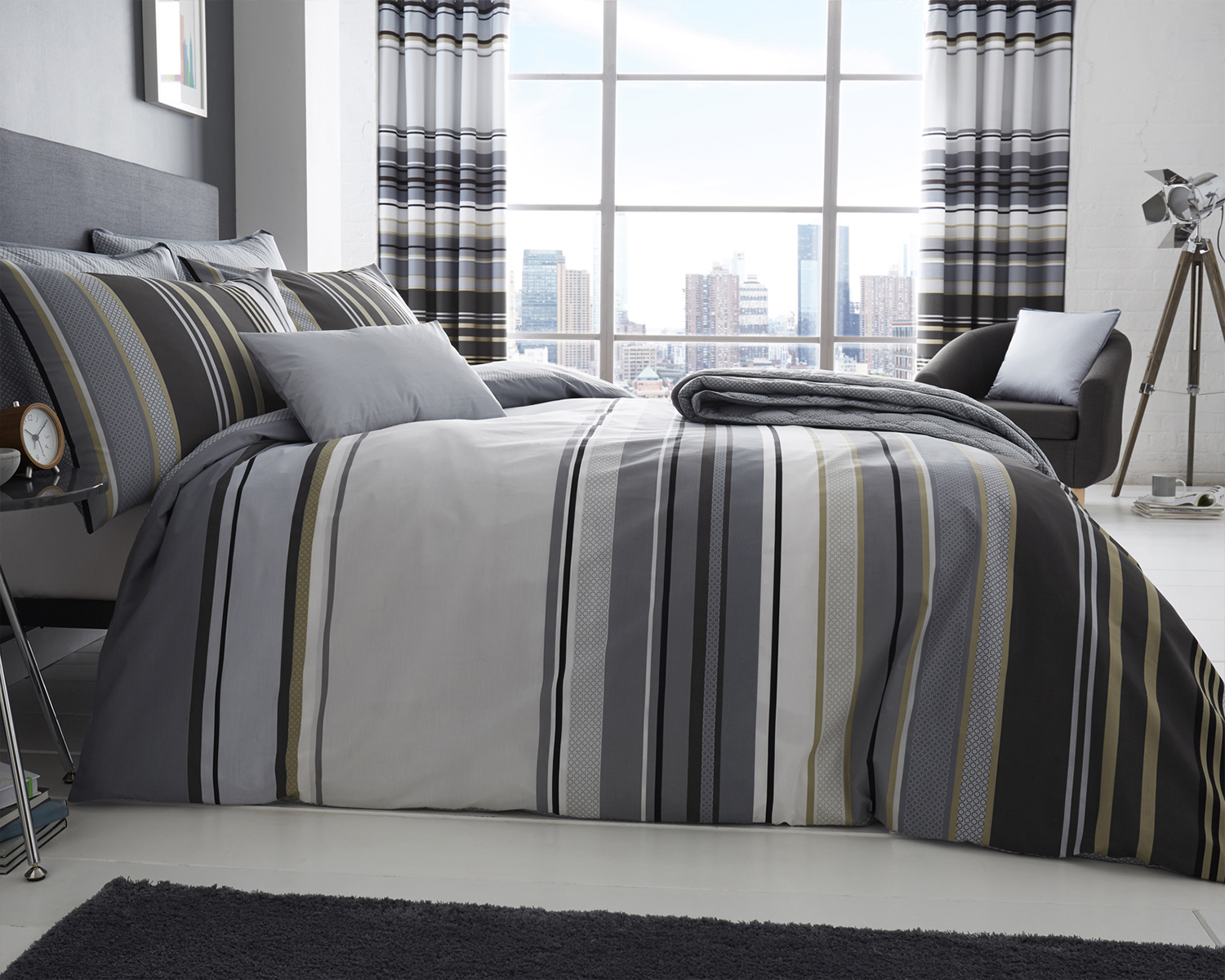 Ashcroft Stripe Collection Bedding Set in Grey