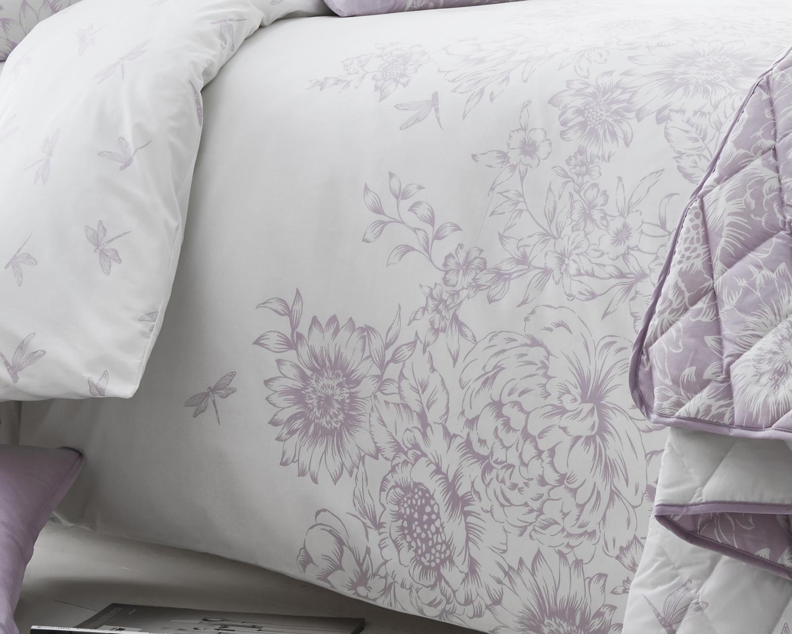 Sentinel Fl Border Design Lilac Bedding Duvet Cover Set Single Double King Size