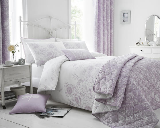 Floral Border Design Bedding Set in Lilac  Thumbnail 1