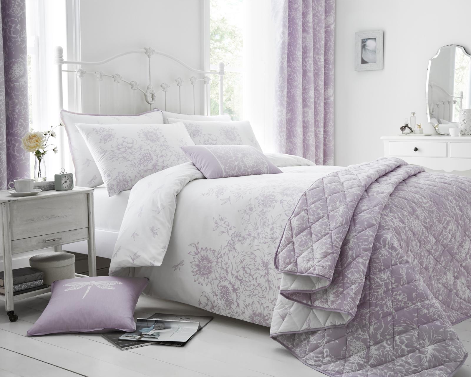 Floral Border Design Lilac Bedding Duvet Cover Set Single