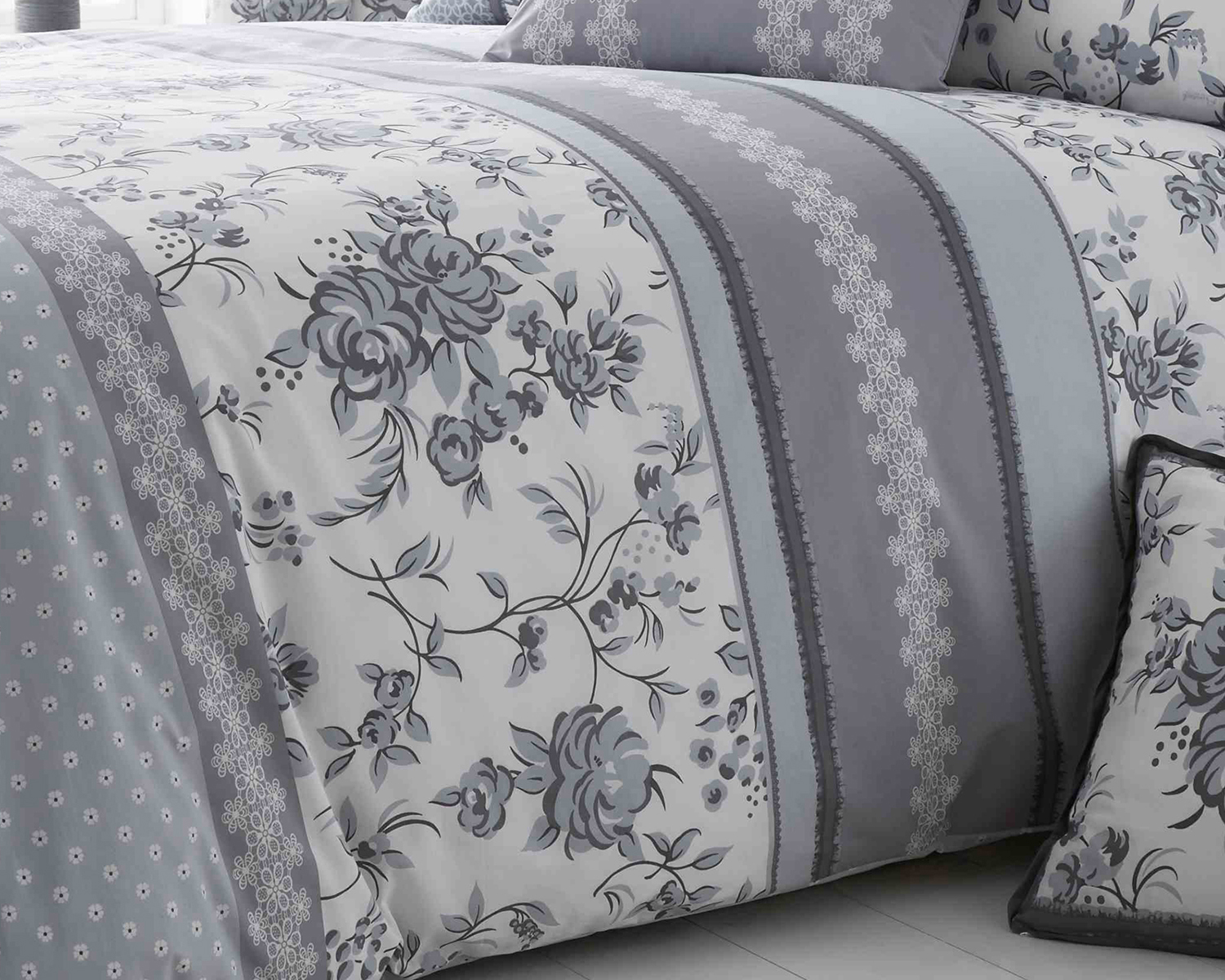 Pippin Collection Floral Design Bedding Range in Grey