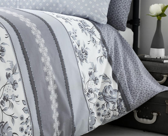 Pippin Collection Floral Design Bedding Range in Grey Thumbnail 3